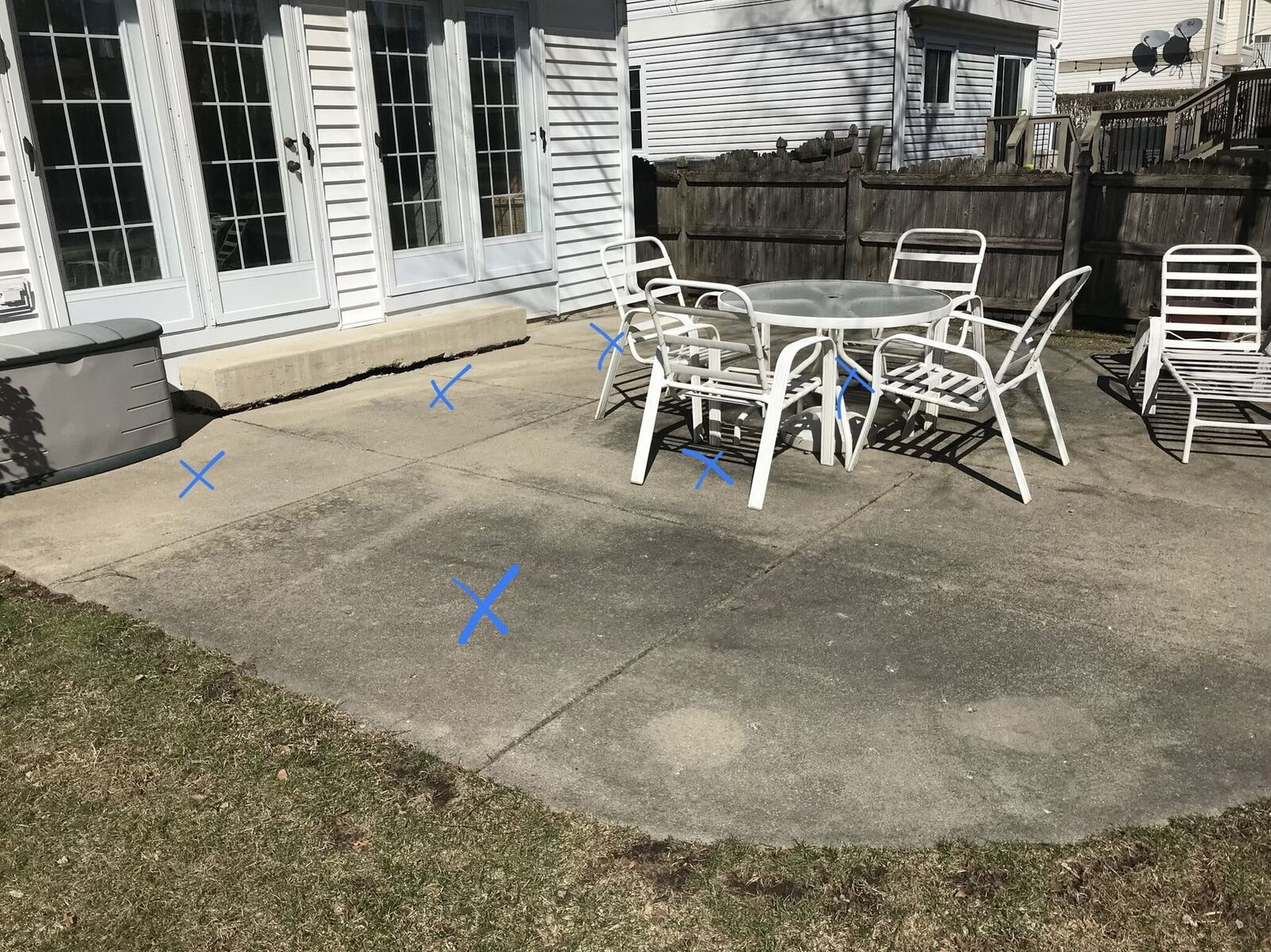 sunken patio needs repairs